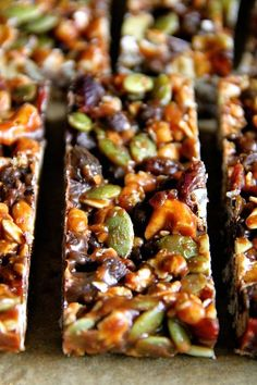 No Bake Trail Mix Granola Bars. Sweet salty chewy and crisp these nut-free granola bars make the perfect back to school snack! Easily made gluten-free and vegan too! Healthy Granola Bars, Healthy Bars, Healthy Recipes, Gluten Free Recipes, Snack Recipes, Homemade Granola Bars, Paleo Bars, Amish Recipes, Dutch Recipes
