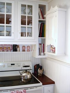 Storage solutions ... shelf under the cabinet, skinny bookcase, mounted wall shelf.