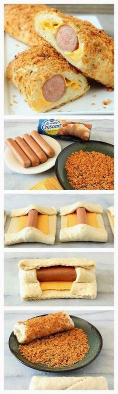 CОСИСКИ В ТЕСТЕ Дрожжевое тесто, сыр, сосиски, молотые чипсы