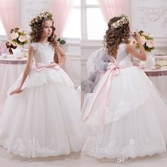 Cheap Lace Ball Gown Little Bridal Flower Girls Dresses For Wedding Party Princess Ruffle Bow Floor Length Tulle Kids Girls Pageant Dresses Newborn Flower Girl Dresses Organza Flower Girl Dress From One Stopos, $64.51| Dhgate.Com