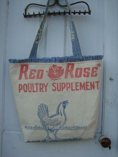 Gussied Up Tote made from vintage Red Rose chicken feed sack.  www.ginnymae.etsy.com