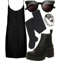 black slip dress outfit - Google Search
