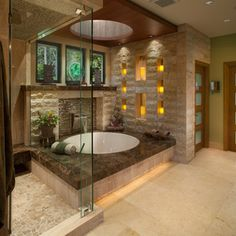 Bathroom Design Inspiration, Pictures, Remodels and Decor - love the candle wall lighting