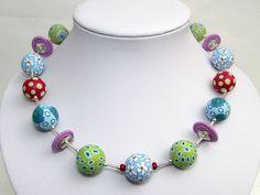 Mai Perlen Kette Polymer Clay fimo Design ... von filigran-Design auf DaWanda.com