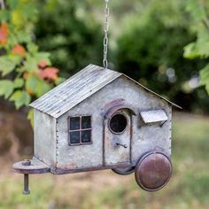February-Pre Order Rustic Country Distressed Happy Camper Metal Birdhouse