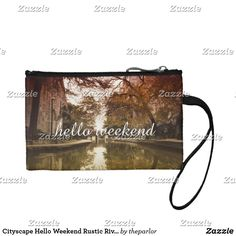Shop Cityscape Hello Weekend Rustic River Lovely Day Coin Wallet created by theparlor. Holiday Cards, Christmas Cards, Hello Weekend, Customizable Gifts, Coin Wallet, Beautiful Gifts, Elephant Gifts, Personalized Gifts, River