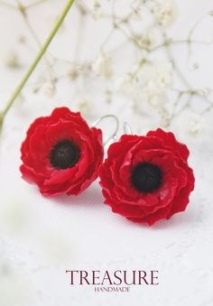 Red flower earrings poppy earrings flower dangle by TreasureAM