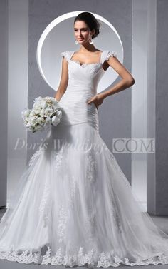 Romantic Queen Anne Criss-Cross Ruching A-Line Wedding Dress With Tulle Overlay Visit www.doriswedding.com find more bridal wear and dresses design. #DorisWedding.com