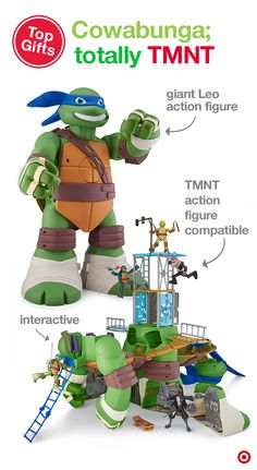 "Your little ninja will love getting the Teenage Mutant Ninja Turtles 24"" Leonardo Turtle Playset this Christmas. This giant, turtle-to-lair playset mutates from a large, 24"" action figure into an interactive Sewer Lair Playset that includes over 30 unique features—a skate park, computer lab, meditation area, street-level lookout and more. Leonardo Turtle, Activities For Boys, Turtle Party, Computer Lab, Skate Park, Teenage Mutant Ninja Turtles, Boy Birthday, Baby Love, Little Boys"