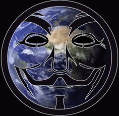 ~animated~  Anonymous Rotating Globe  Fawkes Overlay Logo