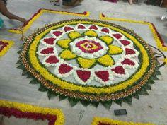 Onam Pookalam Design, Flowers Decoration, Diwali Decorations, Shiva, Garland, Christmas Tree, God, Living Room, Holiday Decor