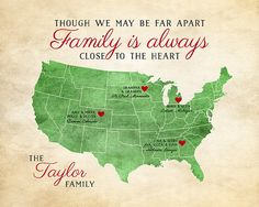 Gift for Family, Family Quote, Long Distance Family Map, Gift for Parents, Gift for Grandparents, Friends, Father, Mother, Unique