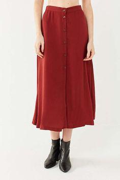 Slide View: 4: UO Amelia Button-Down Midi Skirt