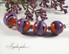 Lampwork beads handmade glass beads round purple by Annelibeads - Annelis pärlor