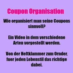 USA billig aber gut leben: Coupon Organisation Dies ist ein Artikel über die verschiedenen Moeglichkeiten Coupons zu organisieren. Es kommt natürlich auf deinen Lebens- und Couponingstil an wie du deine Coupons ordnest. In diesem Video wirst du sicherlich auch einen Weg für dich finden.