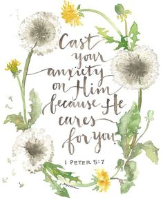 1 Peter - Cast your anxiety on Him because He cares for you. - God's love from the Bible - Jesus inspiration - hope Bible Art, Bible Verses Quotes, Bible Scriptures, Devotional Bible, Faith Verses, Faith Bible, Bible Encouragement, 1 Peter, Spiritual Inspiration