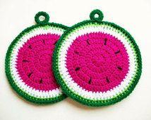 Watermelon Pot Holders Fruit Melon Hot Pad Potholder Handmade Decorative Kitchen Housewares Decor