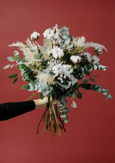 Winter bouquet: white cotton, fluffy Miscanthus, Silver Brunia and fragrant Eucalyptus Cotton Bouquet, Hand Bouquet, Dried Flower Bouquet, Flower Bouquet Wedding, Dried Flowers, Wedding Flower Arrangements, Floral Arrangements, Flannel Flower, Dried Eucalyptus