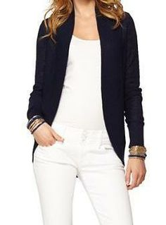 Lilly Pulitzer Amalie Open Front Cardigan in True Navy