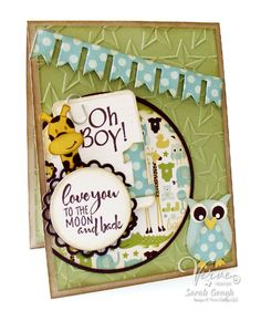 Baby boy card by Sarah Gough using To the Moon from Verve Stamps.  #vervestamps