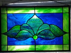 Traditional Stained Glass Panel  Blues and by AngelasArtGlass