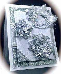 www.CardsbyAmerica.blogspot.com/, America, Christmas, Holiday, Poinsettias, Florals, Silver, America, Sue Wilson, Creative expressions
