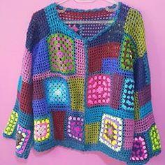 Crochet Jacket Pattern Granny Square Vintage New Ideas Poncho Crochet, Crochet Jacket Pattern, Crochet Cardigan, Crochet Granny, Crochet Patterns Free Women, Knitting Patterns Free, Crochet Ideas, Coat Patterns, Dress Patterns