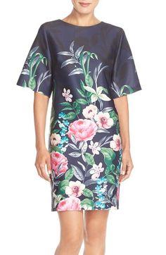 Eliza J Floral Print Scuba Shift Dress (Regular & Petite) available at #Nordstrom