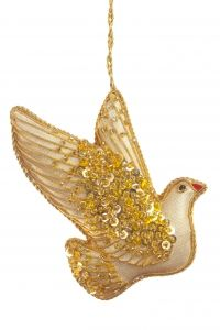 Gold Jewel Dove Christmas Decoration - NATURE - Christmas Decorations