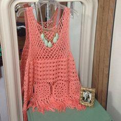 Crochet Fringe top-Urban Day 100% acrylic peach fringe top. Urban Day Tops Tank Tops