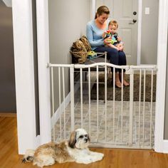 Toddleroo by North States wide Arched Auto Close Baby Gate with Easy Step: Sturdy safety gate with one hand operation. Pressure or Hardware Mount. Fits to wide tall, Gray) Child Safety Gates, Kids Gate, Tall Greys, Baby Gates, Pet Gate, Door Stopper, Dog Fence, Easy Install, Dog Supplies