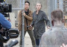 Steven Yeun (Glenn Rhee) and Melissa McBride (Carol Peletier) in Episode 16  Season 3