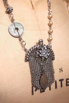 Flea Market Style  Paris Chatelaine purse Necklace
