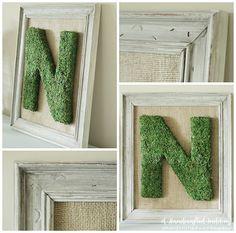 How to Frame a Moss Covered Letter. Create a Moss covered letter and frame it for wedding reception decor. #wedding #monogram {ahandcraftedwedding.com}