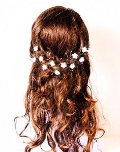 White bridal tiara, bridal hair accessories, boho wedding tiara, wedding flower crown, gold tiara, white headpiece, headband, pearls crown. on Etsy, $43.00