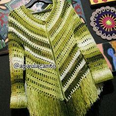 Canto do Pano Artesanato: Kimono Crochê ou Poncho aberto com gráfico