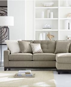 Clarke Fabric Sectional Sofa Living Room Furniture Sets & Pieces - Living Room - For The Home - Macy's Living Room Sofa, Home Living Room, Living Room Furniture, Living Room Designs, Living Room Decor, Apartment Living, Living Area, Sectional Sofa With Chaise, Fabric Sectional