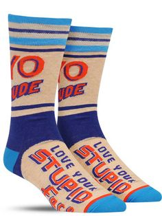 Yo Dude. Love Your Face Socks   Mens