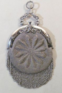 RARE AND BEAUTIFUL ART NOUVEAU VINTAGE FRENCH STEEL BEADED CHATELAINE PURSE  <3 @