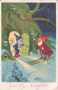 Holiday Card - Gnome Brings Presents - Fritz Baumgarten - Christmas New Year Bonne Anne or Blank Fairy Land, Fairy Tales, Les Moomins, Elves And Fairies, Christmas Gnome, Flower Fairies, Vintage Holiday, Leprechaun, Little People