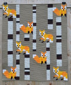 Thank you so much for the lovely compliments on this new design - Fox among the Birches.     While I was busy basting and getting this little quilt quilted, Fox among the Birches was being introduced