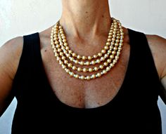 Multi strand pearl necklace, Chunky pearl necklace, Layered pearl necklace, Glass pearl necklace, OOAK - pinned by pin4etsy.com