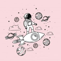 Astronaut draw with rocket and planets Free Vector Rocket Drawing, Astronaut Drawing, Astronaut Illustration, Ship Drawing, Illustration Art, Space Drawings, Cute Drawings, Art Galaxie, Planet Drawing