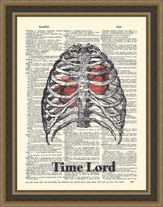 Doctor Who Time Lord skeleton showing his two hearts printed on a vintage dictionary page.Dr Who Print, Time Lord Print,  Whovian Print.