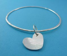 Silver Heart Bangle  Sterling Silver Solid by SilverTreeJewellery, £17.99