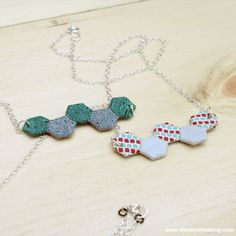 """Attention quilting geeks: You need an adorable mini hexie necklace, right? (Of course you do!) Turn 10 teeny tiny ¼"""" hexies into a sewing-inspired fashion statement with my mini hexie nec..."""