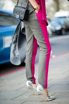 Bicolor pants, Chanel bag and Stuart Weitzman heels Street Style Outfit Sport Chic, Sport Fashion, Love Fashion, Womens Fashion, Style Fashion, Street Chic, Street Wear, Your Style, Style Me