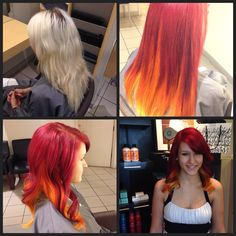 Before and Afters. Red hair, ombré.