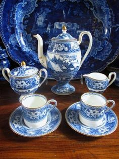 Wedgwood Flow Blue Transferware, Demitasse Porcelain Tea Set.