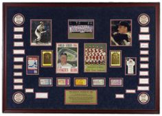 1961 World Champion New York Yankees- A framed tribute to the 1961  New York Yankees and their World Series Victory over the Cincinnati Reds. Featuring JSA authenticated signatures  of all the players on the World Series roster as well as ManagerRalph Houk, (Note - Maris and Mantle's signatures are on 8 x 10's, Ford and Berra's signatures  are on HOF Postcards, and all remaining players are on 3 x 5's).   To find out more go to: http://www.framedsportsmoments.com